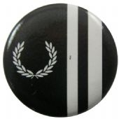 Fred Perry - 'Black White Stripes' Button Badge